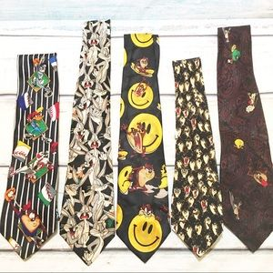 Vintage Looney Tunes Character Neck Tie Bundle